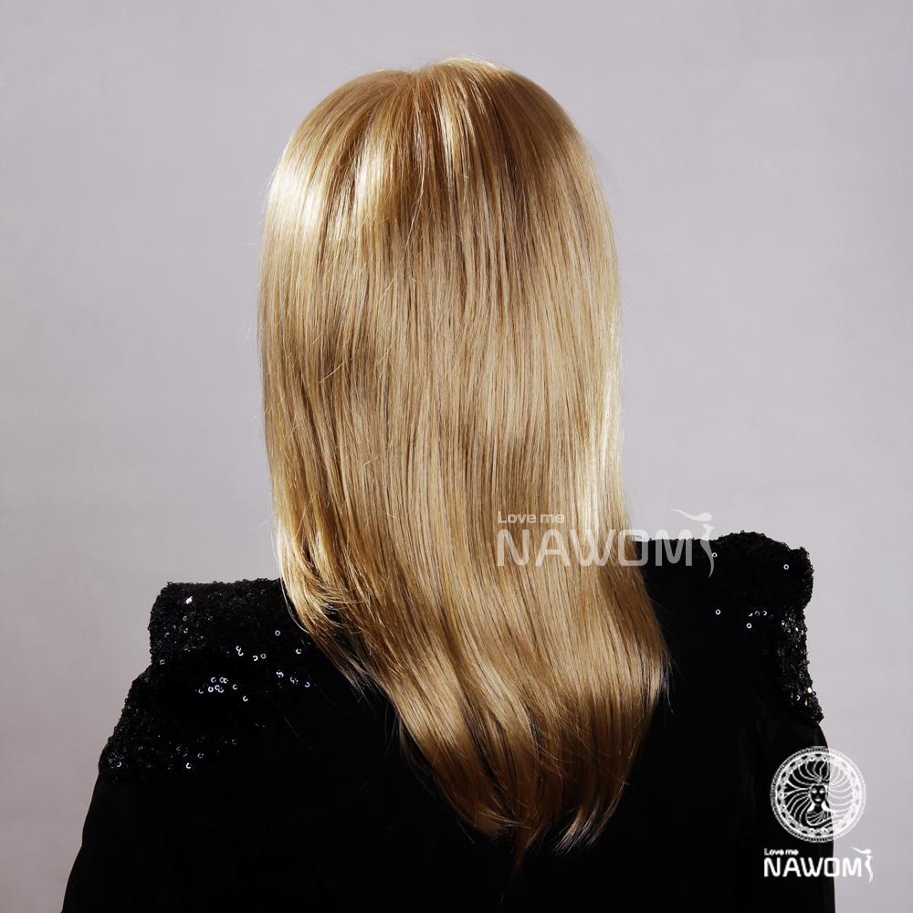 (清仓活动款)欧美流行假发金色中长直发倒毛斜刘海仿真假发甜美女士图片
